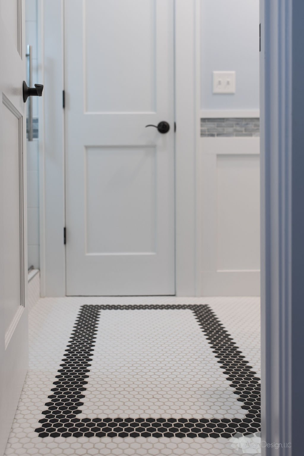 bathroom hexagonal floor tile with rectangular accent pattern